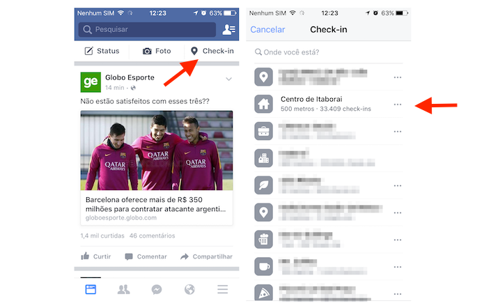 Iniciando a ferramenta de check-in do Facebook pelo celular (Foto: Reprodução/Marvin Costa) (Foto: Iniciando a ferramenta de check-in do Facebook pelo celular (Foto: Reprodução/Marvin Costa))