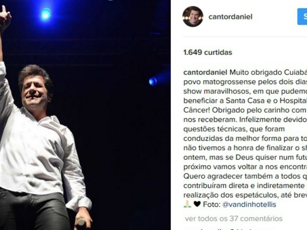 O cantor Daniel se manifestou sobre o incidente pelas redes sociais (Foto: Reprodução/Instagram)
