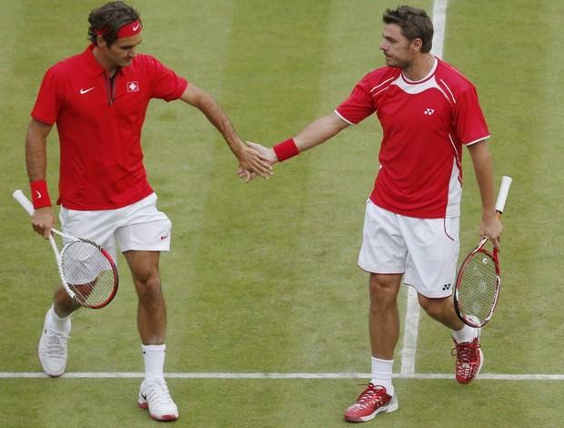 Roger Federer tênis Londres 2012 Olimpíadas Stanislas Wawrinka (Foto: Reuters)