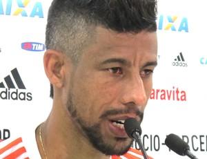 Léo Moura, Coletiva Flamengo (Foto: Thales Soares )