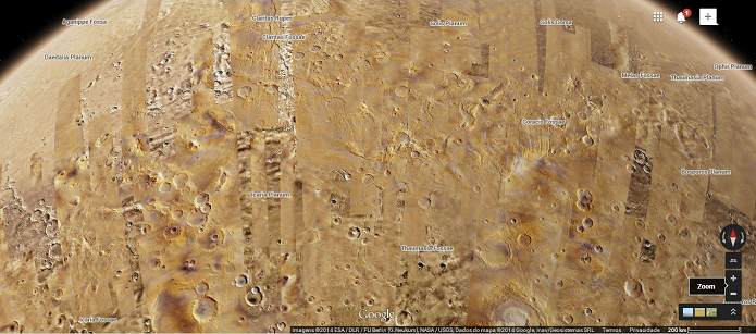 Marte tem diversos locais identificados (Foto: Reprodução/Google)