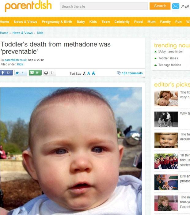 Bebê morreu após sofrer overdose de metadona dada pelos pais no Reino Unido (Foto: Reprodução)