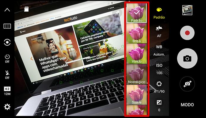 Samsung disponibiliza uma série de filtros para fotografia, alguns muito interessantes; entretanto o uso de qualquer um deles desliga o salvamento em RAW sem aviso! (Foto: Reprodução/Filipe Garrett)