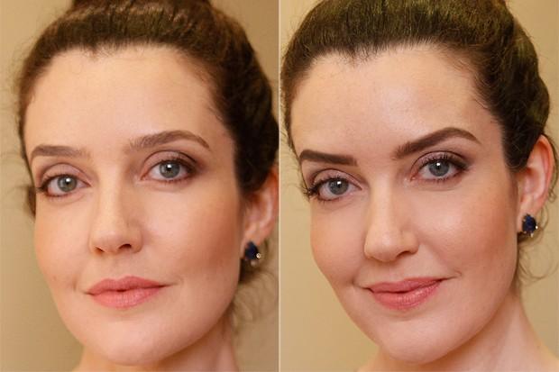 Antes e depois: Larissa Maciel mostram sobrancelhas marcadas com a ajuda de sombra marrom (Foto: Jessica Monstans/EGO)