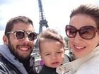 Antes do 'Dança', Piovani se diverte em Paris com Dom e Pedro Scooby