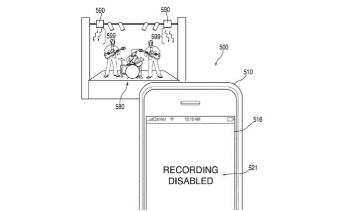 Sensores infravermelho posicionados no palco desabilitaria câmera do smartphone (Foto: Reprodução/USPTO)