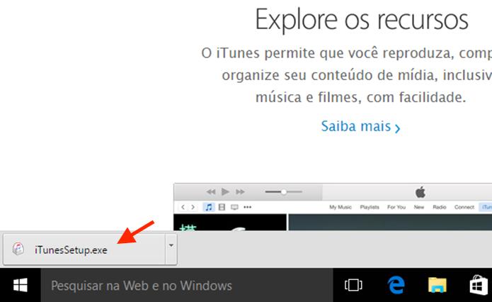 Iniciando o setup de instalação do iTunes no computador com Windows (Foto: Reprodução/Marvin Costa)