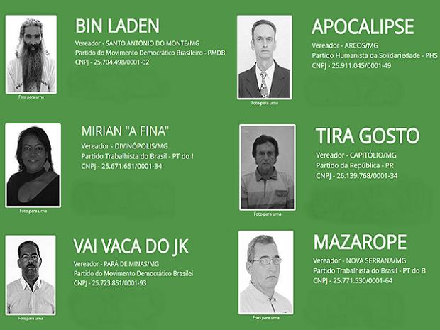 Candidatos engraçados no Centro-Oeste de Minas Gerais (Foto: Tribunal Superior Eleitoral/Reprodução)