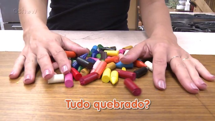 Gshow faz teste com giz de cera quebrado (Foto: Gshow)