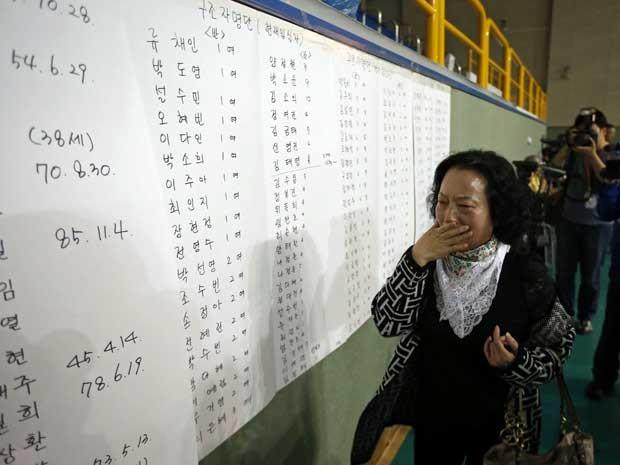 Mãe se emociona ao encontrar o nome do filho numa lista de passageiros que sobreviveram ao naufrágio na Coreia do Sul. (Foto: Kim Hong-Ji / Reuters)