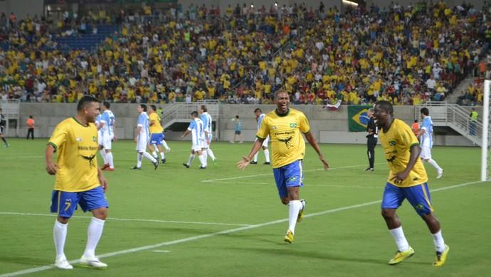 Beto comemora gol - Brasil x Argentina (Foto: Jocaff Souza/GloboEsporte.com)