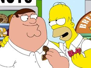 Peter Griffin ('Family Guy') e Homer Simpson ('Os Simpsons') se encontram em episódio especial (Foto: Divulgação/Fox)