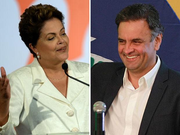 Dilma Rousseff e Aécio Neves, em seus discursos após a apuração confirmar a disputa entre os dois no segundo turno das eleições (Foto: Evaristo Sá/AFP; Eugenio Savio/AP)