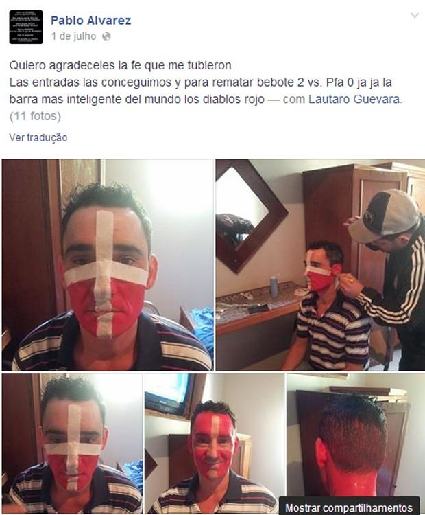 Imagens da 'transformação' em torcedor suíço do 'barra-brava' Pablo Alvarez, publicadas por ele próprio no Facebook (Foto: Reprodução/Facebook/Pablo Alvarez)