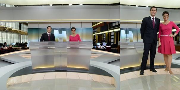 Sandra Annenberg e Evaristo Costa podem se movimentar livremente pelo novo cenário do Jornal Hoje (Foto: Zé Paulo Cardeal/Globo)