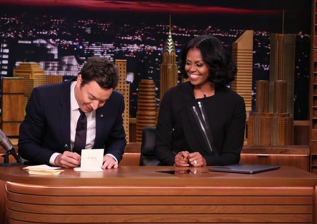 Jimmy Fallon e Michelle Obama (Foto: Reprodução)