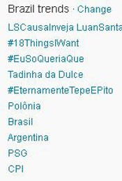 Trending Topics no Brasil &#224;s 17h06 (Foto: Reprodu&#231;&#227;o)