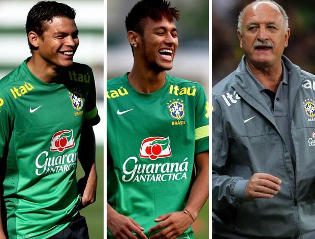 MONTAGEM - Thiago silva neymar e Felipão brasil (Foto: Editoria de arte)