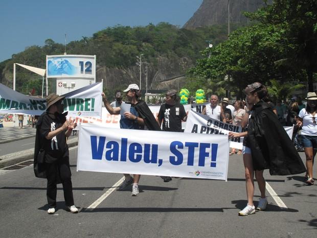 Manifestantes homenageiam ministro do STF em caminhada na orla do Rio (Foto: Alba Valéria Mendonça/ G1)