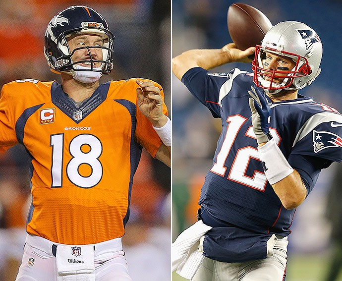 Manning do Denver Broncos Tom Brady do New England Patriots NFL (Foto: Getty Images)