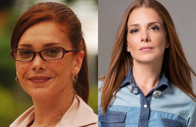 Karla Muga foi Bárbara, assistente do diretor do Múltipla Escolha Adriano (Daniel Boaventura). A atriz se mudou para Lisboa, onde participou da novela 'A única mulher', do canal TVI, e atualmente trabalha com coaching para atores e empresas (Foto: TV Globo e reprodução)