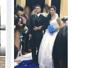 Heictor e Sthefani se casaram em cerimônia no sábado (20) (Foto: Reprodução Facebook)