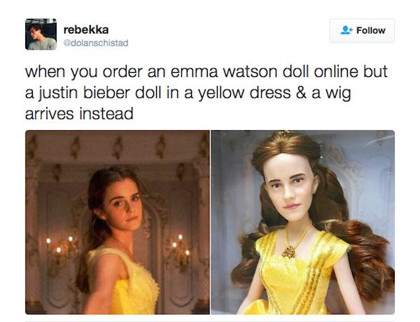 Uma piada com a boneca de Emma Watson e Justin Bieber (Foto: Twitter)