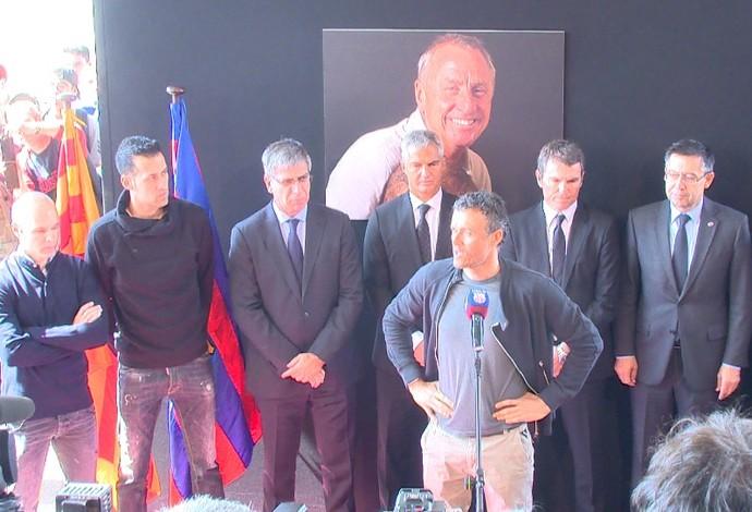 Luis Enrique e Barcelona no memorial de Cruyff (Foto: Ivan Raupp)