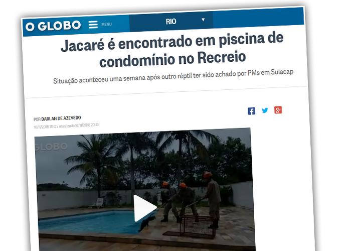 Jacaré encontrado em piscina vira notícia (Foto: O Globo)