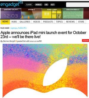 """No convite, que mostra apenas a parte de cima da maçã da Apple, a companhia escreveu """"Nós temos um pouco mais para lhe mostrar"""". (Foto: Reprodução)"""