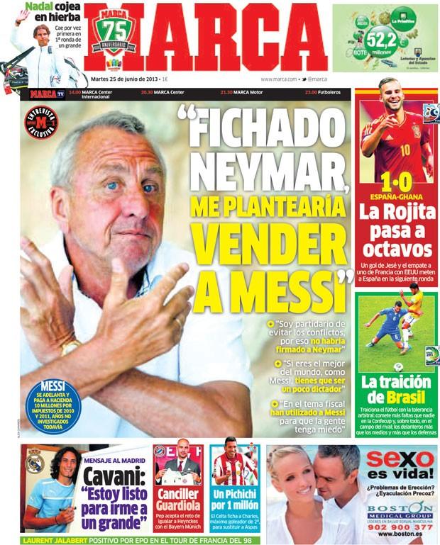 Ex-jogador Cruyff na capa do jornal Marca (Foto: Reprodução / Marca)