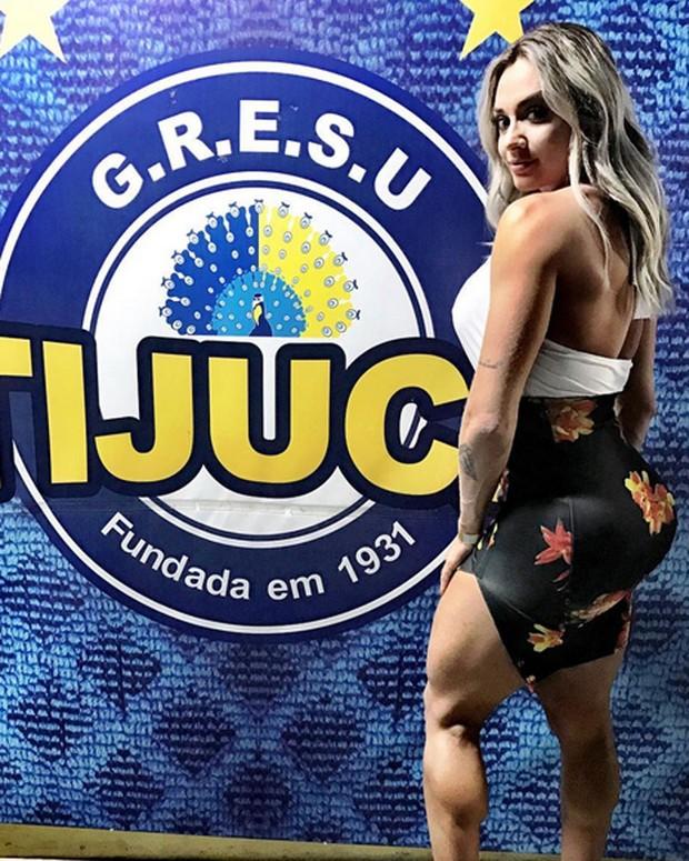Juju Salimeni na quadra da Unidos da Tijuca, na Zona Norte do Rio (Foto: Instagram/ Reprodução)