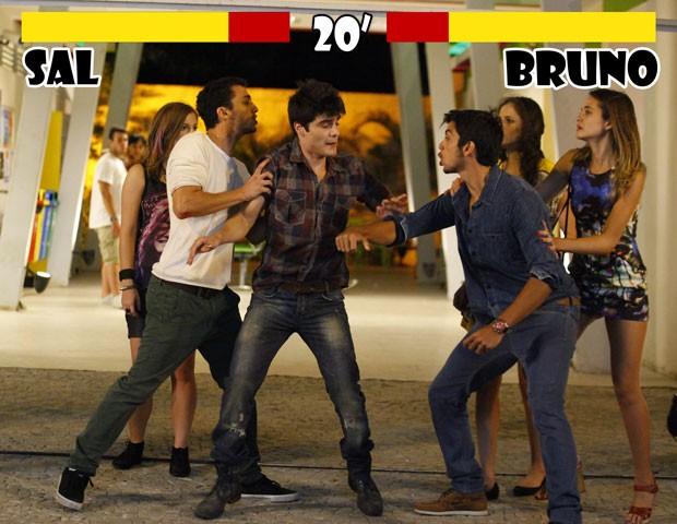 FIGHT!!! A chapa vai esquentar na porta do Quadrante! (Foto: Malhação / TV Globo)