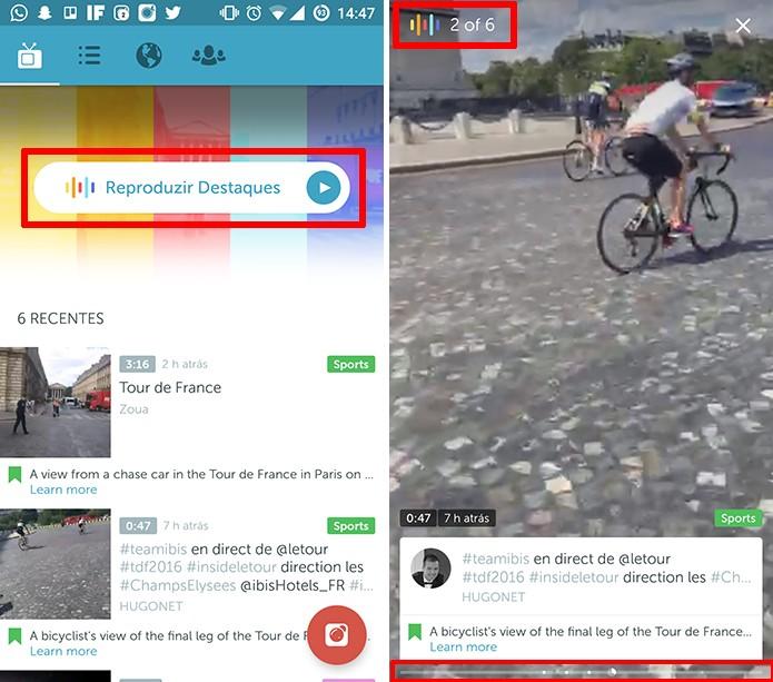 Periscope exibe destaques de canais seguidos e sugeridos na tela inicial do aplicativo (Foto: Reprodução/Elson de Souza)