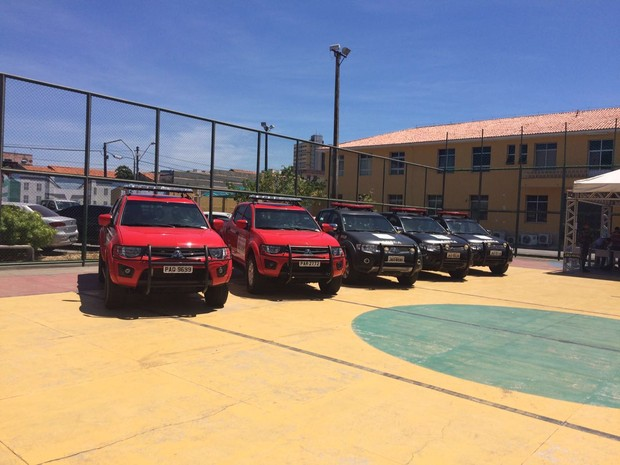 No total, foram recebidos dez carros de polícia; após os Jogos Olímpicos, o Ceará espera receber um micro-ônibus e duas viaturas 4x4 (Foto: Wânyffer Monteiro/TV Verdes Mares)