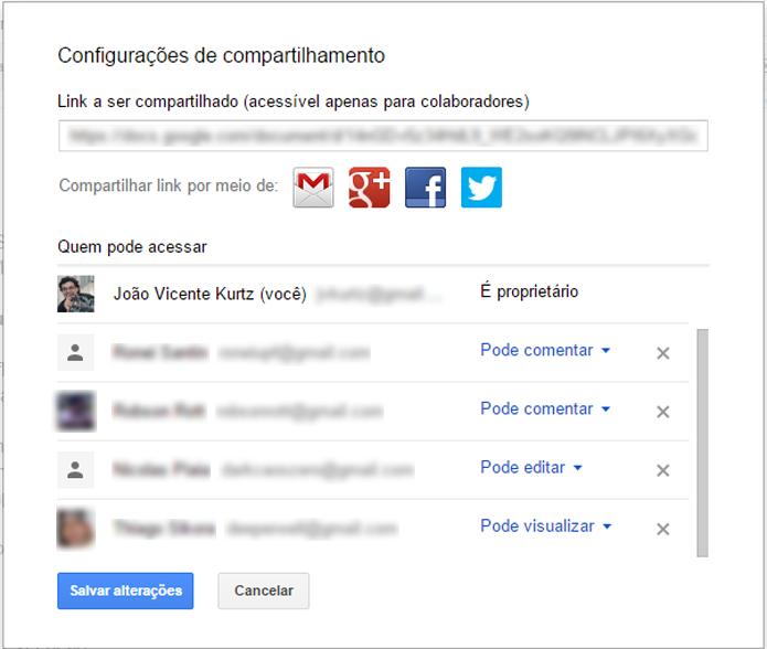 Permissões de arquivos compartilhados podem ser customizadas por usuário (foto: Reprodução/Google)