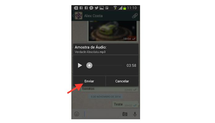 Enviando uma música para um contato do WhatsApp no Android (Foto: Reprodução/Marvin Costa)