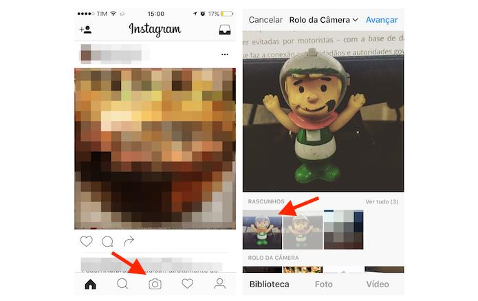 Encontrando um rascunho salvo no Instagram (Foto: Reprodução/Marvin Costa)