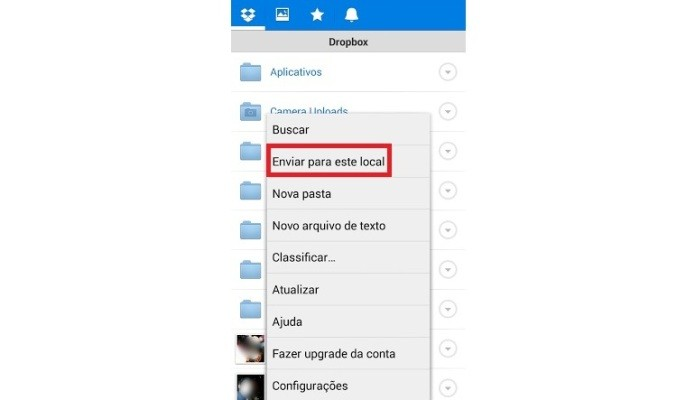 Atalho para envio de arquivo para o Dropbox (Foto: Reprodução/Lívia Dâmaso)