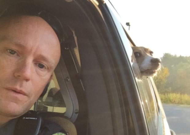 Beagle fez sucesso ao 'invadir' selfie de policial nos EUA (Foto: Reprodução/Facebook/Bangor Police Department)