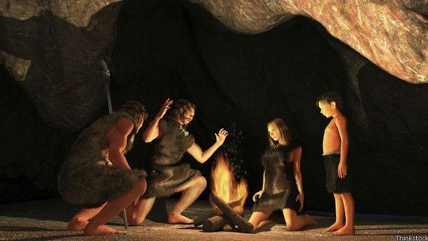 Animação gráfica mostra homem pré-histórico; descoberta do fogo teria permitido que homem começasse a cozinhar imediatamente  (Foto: Thinkstock)