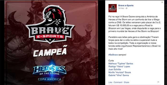 Torneio de Heroes of the Storm teve equipe brasileira como campeã (Foto: Reprodução/Facebook)