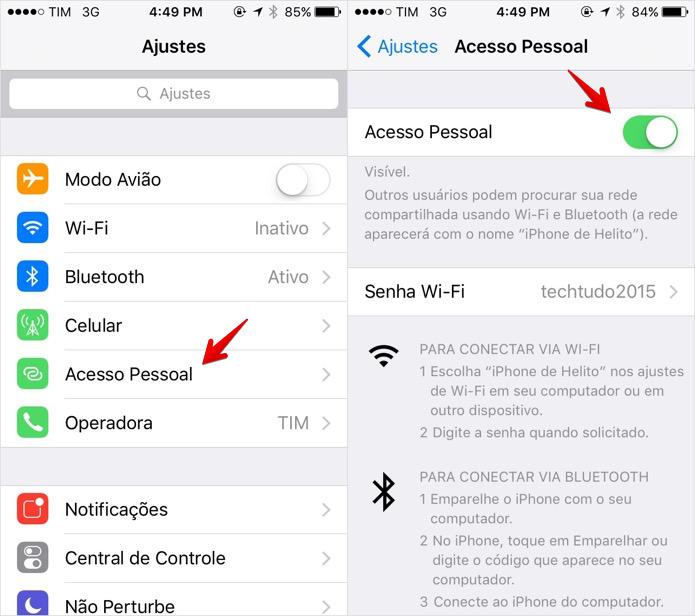 Compartilhando Internet do iPhone por Wi-Fi (Foto: Reprodução/Helito Bijora)