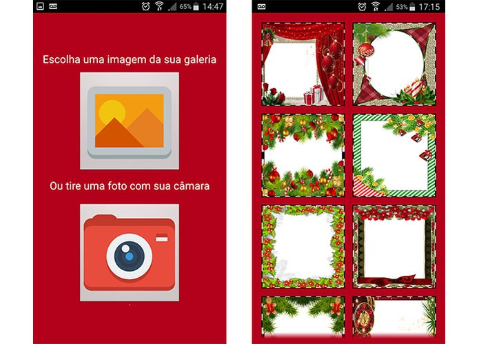 Aplicativo permite aplicar molduras de Natal em fotos para salvar no celular (Foto: Reprodução/Barbara Mannara)