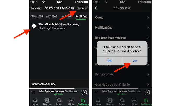 Ferramenta para importar músicas do celular para o Spotify (Foto: Reprodução/Marvin Costa)