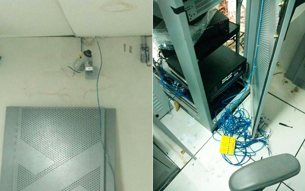 Segundo a Polícia Militar, câmeras foram desligadas e cabos violados (Foto: Divulgação/Polícia Militar)