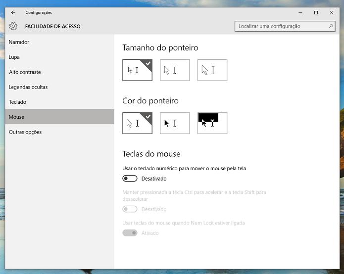 Mouse também possui uma série de opções de acessibilidade (Foto: Reprodução/Thiago Barros)