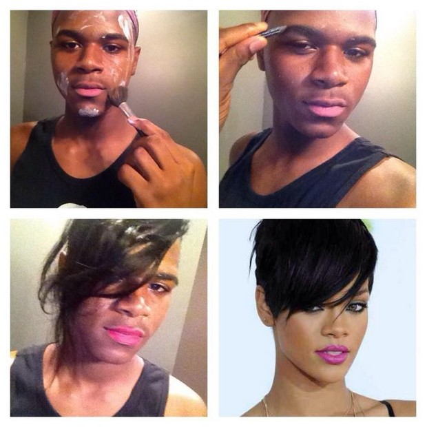 Make up transformation - Rihanna (Foto: Twitter/Reprodução)