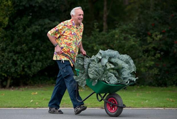 Ian Neale carrega com carrinho repolho de 24,2 kg  (Foto: Oli Scarf/AFP)