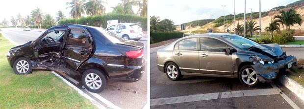 Siena e Honda Civic colidiram na Via Costeira, em Natal (Foto: Jocaff Souza/G1)